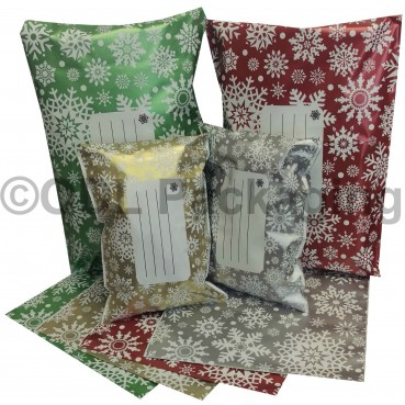 "Christmas Printed Snow Flake Mailing Bags 10"" x 14"" 250mm x 350mm"