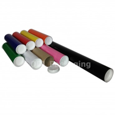 Coloured Strong Cardboard Postal Tubes A1 with Plastic End Caps