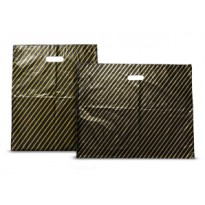 "Plastic Carrier Bags Black & Gold Stripe 22"" x 18"" + 4"""